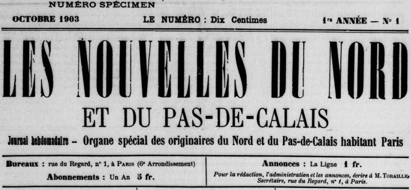 Photo (BnF / Gallica) de : Les Nouvelles du Nord et du Pas-de-Calais. Paris, 1903-[1903 ?]. ISSN 2133-0999.