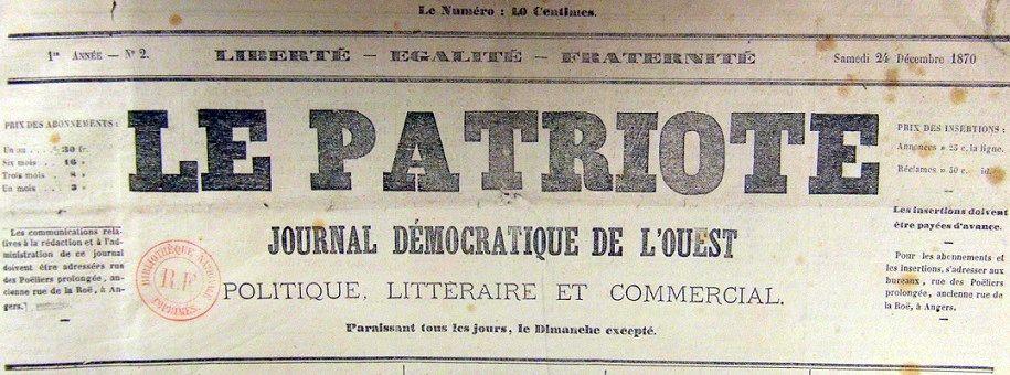 Photo (BnF / Gallica) de : Le Patriote. Angers, 1870-1917. ISSN 2133-6490.