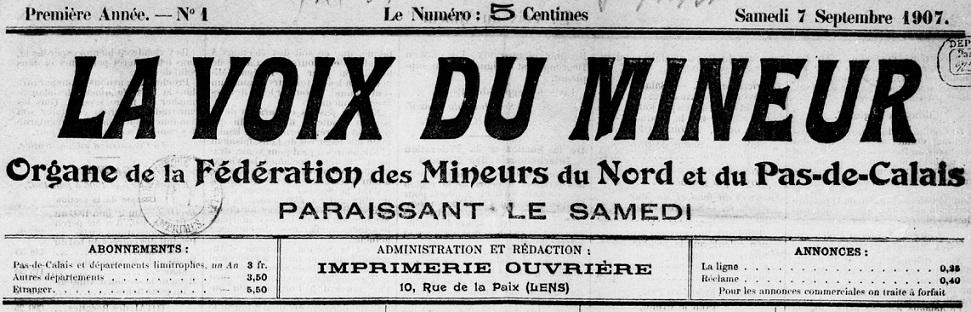 Photo (BnF / Gallica) de : La Voix du mineur. Lens, 1907-[1914 ?]. ISSN 2140-2345.