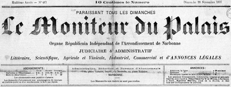Photo (Occitanie) de : Le Moniteur du Palais. Narbonne, 1889-1914. ISSN 2132-4859.
