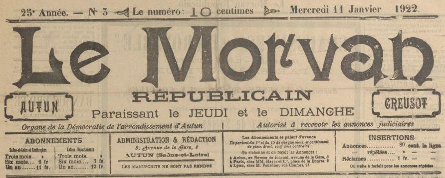 Photo (BnF / Gallica) de : Le Morvan républicain. Autun, 1898-1944. ISSN 2132-6029.