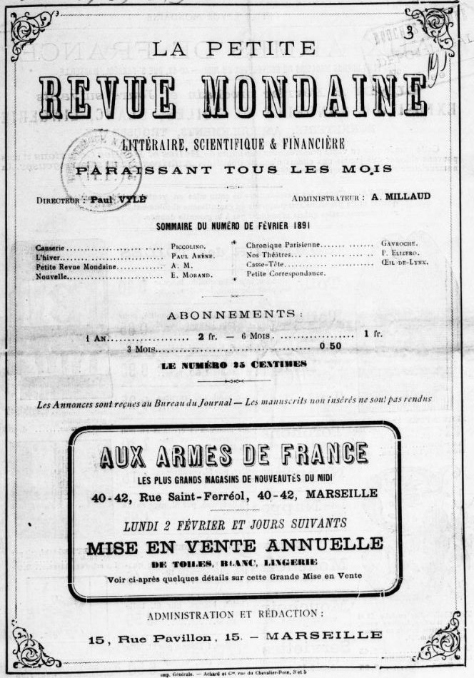 Photo (BnF / Gallica) de : La Petite revue mondaine. Marseille, [1890 ?-1893 ?]. ISSN 2134-6143.