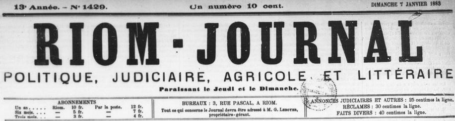 Photo (BnF / Gallica) de : Riom-journal. Riom, 1870-1904. ISSN 2137-5496.