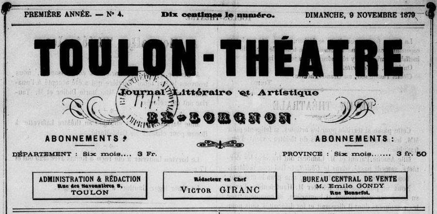 Photo (BnF / Gallica) de : Toulon-théâtre. Toulon, 1879-1882. ISSN 2138-7117.