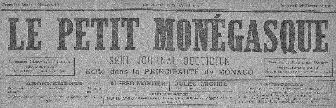Photo (Médiathèque de Monaco) de : Le Petit Monégasque. Monte-Carlo, 1897-1926. ISSN 1018-9939.