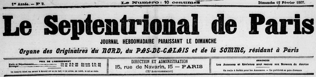 Photo (BnF / Gallica) de : Le Septentrional de Paris. Paris, 1907-[1913 ?]. ISSN 2727-5701.