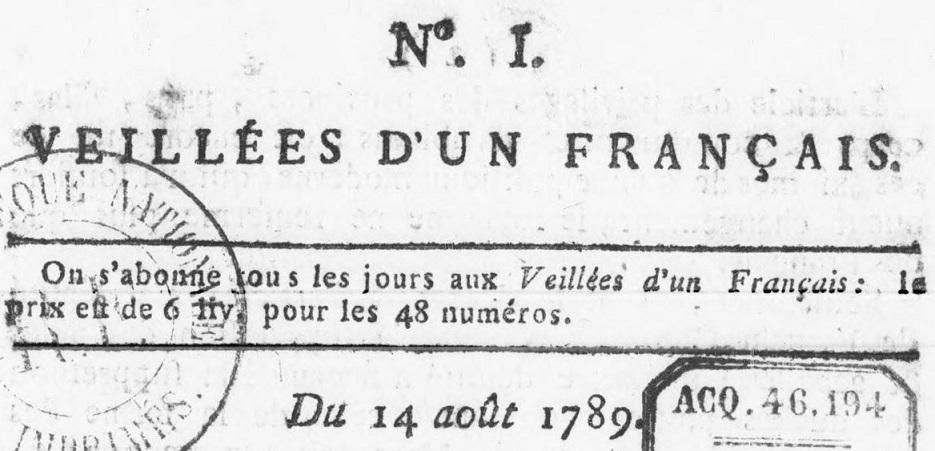 Photo (BnF / Gallica) de : Veillées d'un Français. [Avignon]: [Jean-Albert Joly], [1789]. ISSN 2139-7031.