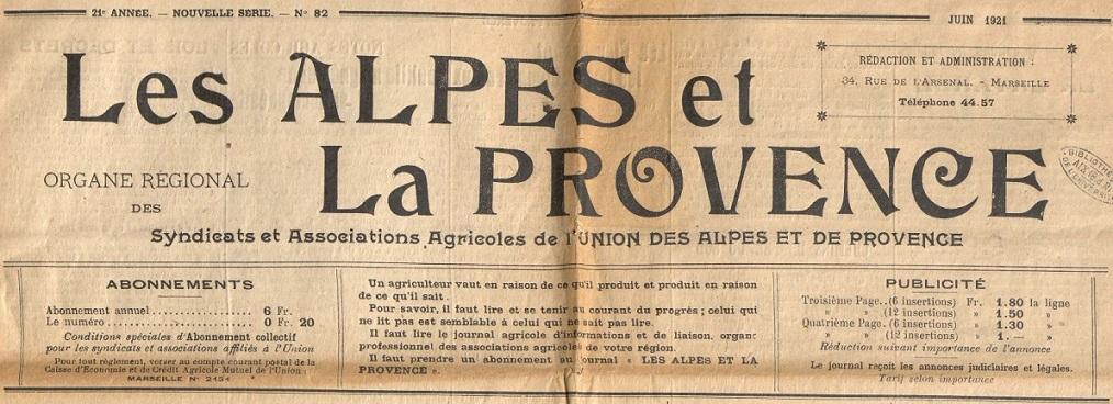 Photo (BnF / Gallica) de : Les Alpes et la Provence. Marseille: Union des Alpes et de la Provence, 1921-1944. ISSN 1153-9372.