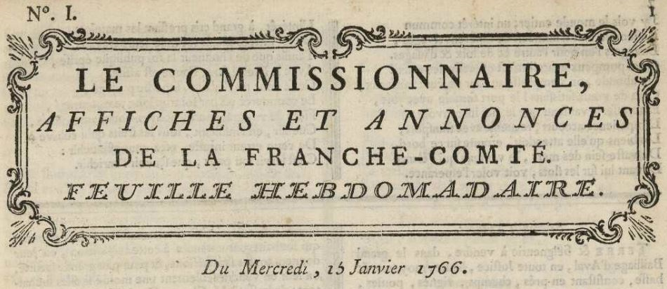 Photo (Bibliothèque municipale (Besançon)) de : Le Commissionnaire. Besançon, 1766-1767. ISSN 2017-9154.