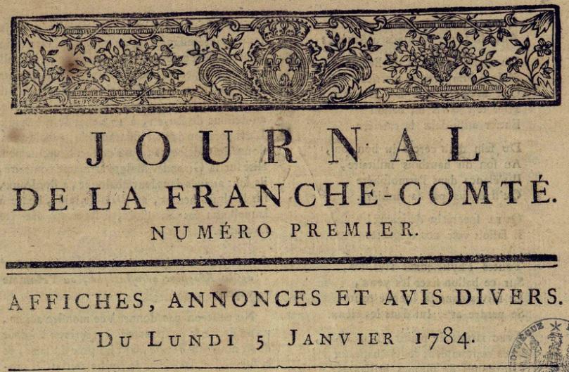 Photo (Bibliothèque municipale (Besançon)) de : Journal de la Franche-Comté. Besançon, 1783-1785. ISSN 2016-1263.