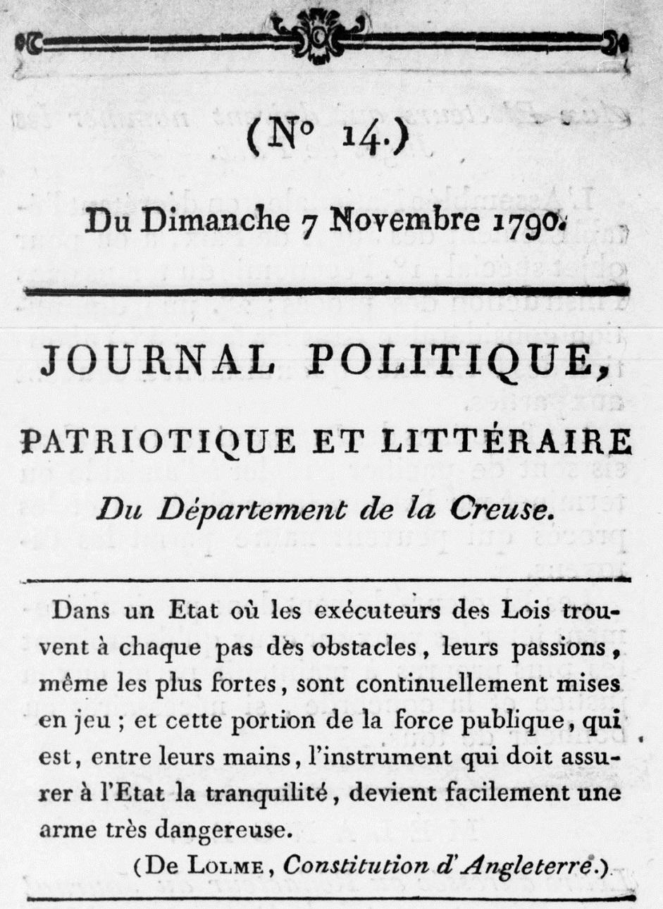 Photo (BnF / Gallica) de : Journal politique, patriotique et littéraire du département de la Creuse. Guéret, 1790-1791. ISSN 1964-0730.