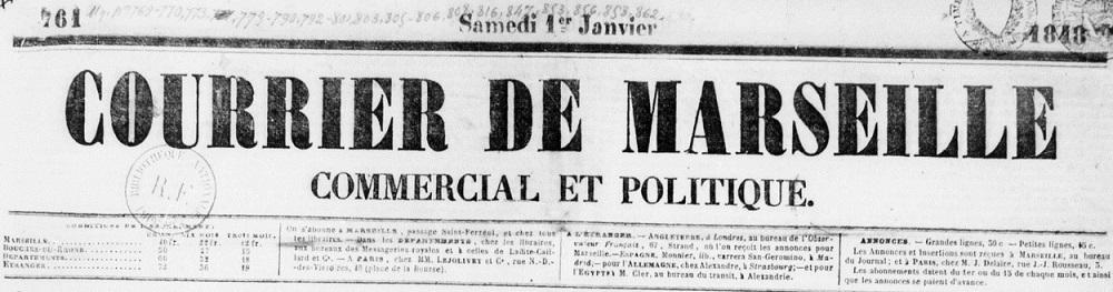 Photo (BnF / Gallica) de : Courrier de Marseille. Marseille, 1845-1871. ISSN 2124-7773.