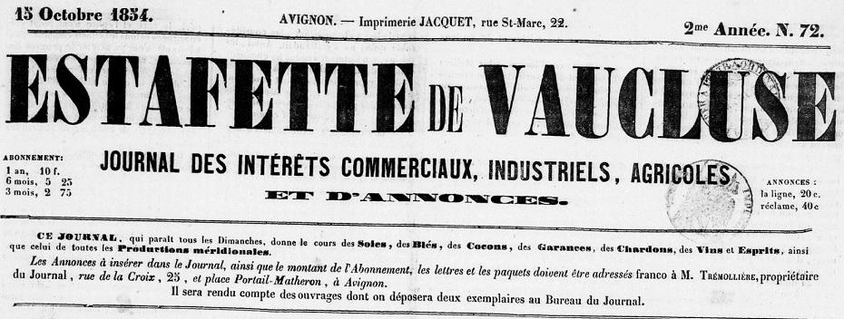 Photo (BnF / Gallica) de : Estafette de Vaucluse. Avignon: Mce Trémollière, 1854-1865. ISSN 1267-5296.