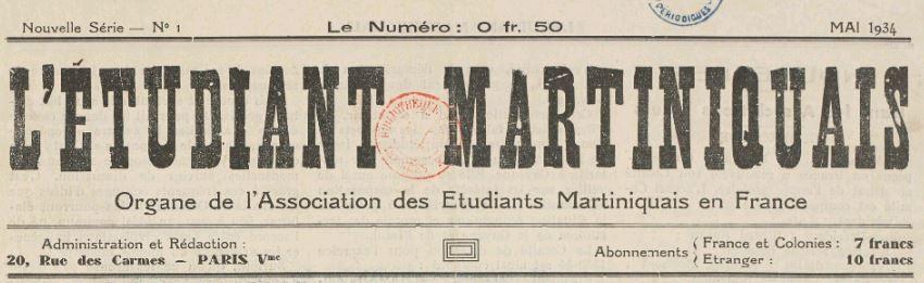 Photo (BnF / Gallica) de : L'Étudiant martiniquais. Paris, 1932-[1935?]. ISSN 2425-4894.
