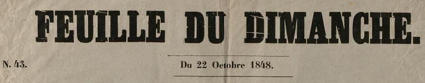 Photo (Bibliothèque municipale (Bordeaux)) de : Feuille du dimanche. Bordeaux, [1817 ?-1881 ?]. ISSN 2127-9926.