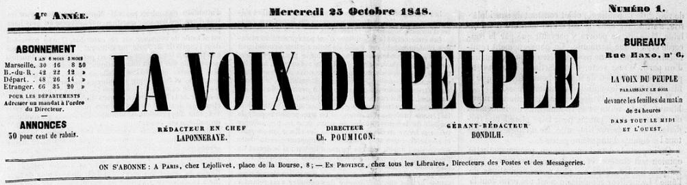 Photo (BnF / Gallica) de : La Voix du peuple. Marseille, 1848-1850. ISSN 2140-2426.