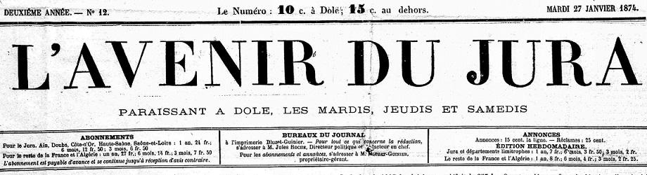 Photo (Jura. Archives départementales) de : L'Avenir du Jura. Dole, 1873-1907. ISSN 1153-7914.