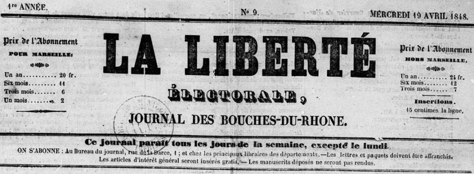 Photo (BnF / Gallica) de : La Liberté électorale. Marseille, 1848. ISSN 2131-3431.