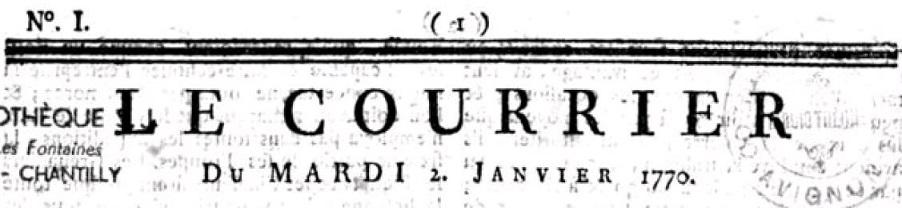 Photo (Bibliothèque municipale (Lyon)) de : Le Courrier. Monaco: Antoine Mossy, fils, 1769-1775. ISSN 2070-139X.