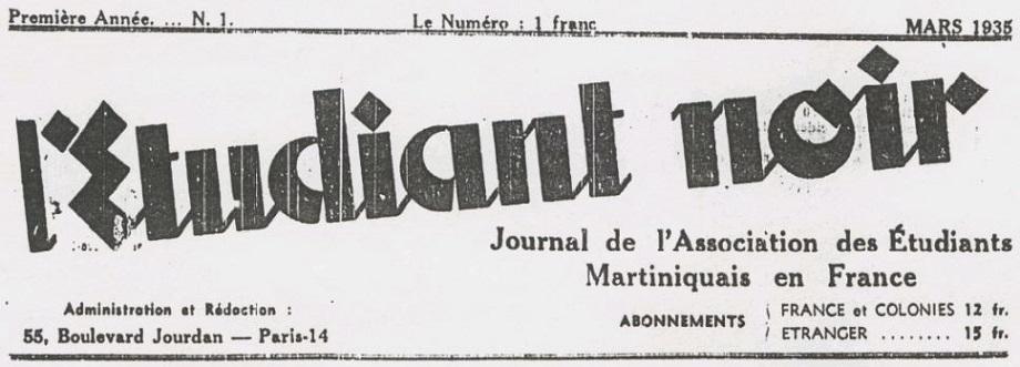 Photo (BnF / Gallica) de : L'Étudiant noir. Paris: Association des étudiants martiniquais en France, 1935 [?]. ISSN 2558-5525.