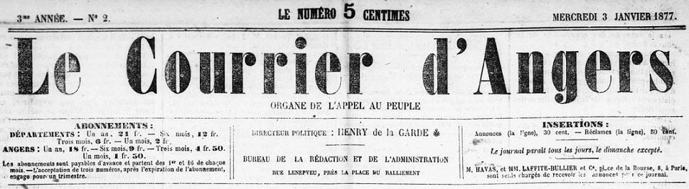 Photo (BnF / Gallica) de : Le Courrier d'Angers. Angers, 1875-1883. ISSN 2124-653X.