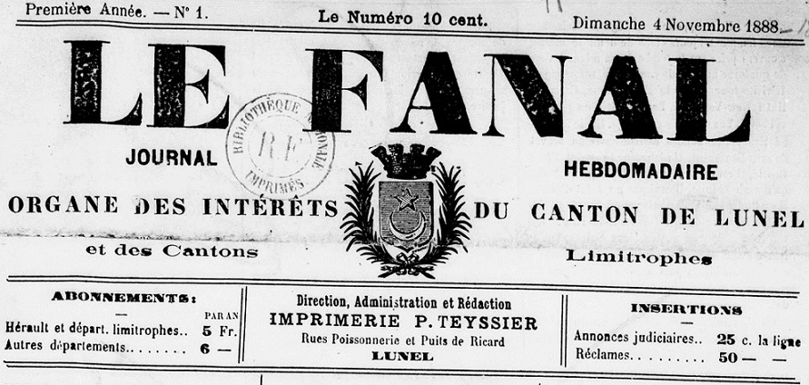 Photo (BnF / Gallica) de : Le Fanal. Lunel, 1888-1914. ISSN 2127-7982.