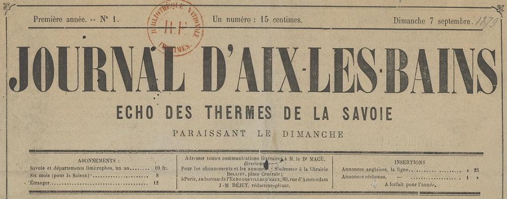 Photo (BnF / Gallica) de : Journal d'Aix-les-Bains. Aix-les-Bains, 1879-1890. ISSN 2130-162X.