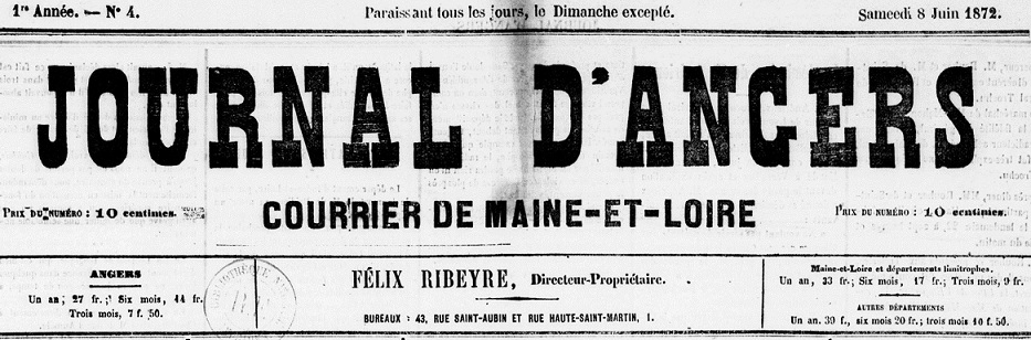 Photo (BnF / Gallica) de : Journal d'Angers. Angers, 1872-1874. ISSN 2130-1727.