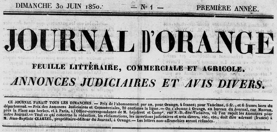 Photo (BnF / Gallica) de : Journal d'Orange. Orange, 1850-1857. ISSN 2025-2382.