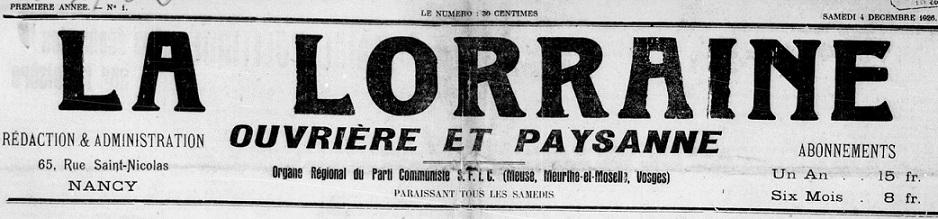 Photo (BnF / Gallica) de : La Lorraine ouvrière et paysanne. Nancy, 1926-[1932?]. ISSN 1963-3505.