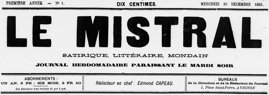 Photo (BnF / Gallica) de : Le Mistral. Avignon, 1891-[1935 ?]. ISSN 2132-3313.