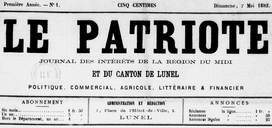 Photo (BnF / Gallica) de : Le Patriote. Lunel, 1882-[1891 ?]. ISSN 2133-6512.