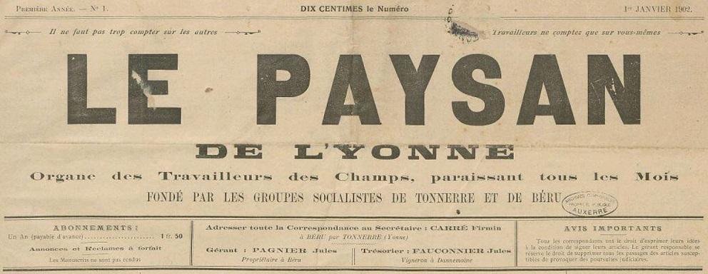 Photo (Archives municipales d'Auxerre, cote 17 S 44/20) de : Le Paysan de l'Yonne. Béru, 1902-1904. ISSN 2133-8302.