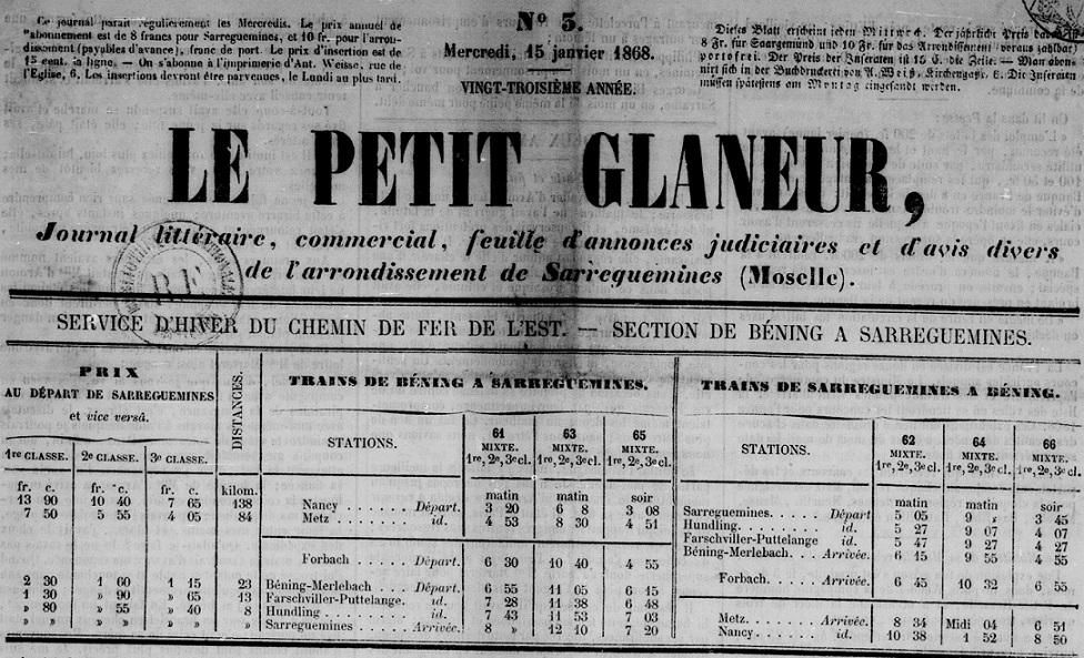 Photo (BnF / Gallica) de : Le Petit glaneur. Sarreguemines, [1846?]-1872. ISSN 1963-6105.