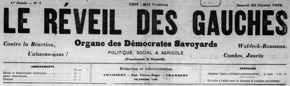 Photo (BnF / Gallica) de : Le Réveil des gauches. Chambéry, 1922-1931. ISSN 2136-9321.