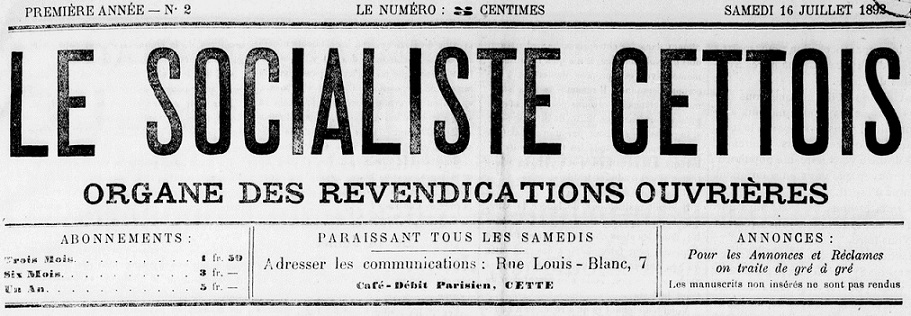 Photo (BnF / Gallica) de : Le Socialiste cettois. Cette, 1892-[1895 ?]. ISSN 2138-1623.