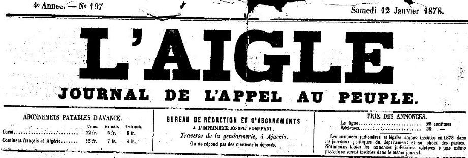Photo (Archives de la Collectivité de Corse – Pumonti) de : L'Aigle. Ajaccio, 1875-1882. ISSN 2120-4780.
