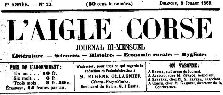 Photo (Archives de la Collectivité de Corse – Pumonti) de : L'Aigle corse. Bastia, 1865-1869. ISSN 2120-4829.