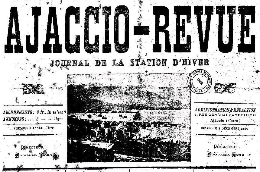 Photo (Archives de la Collectivité de Corse – Pumonti) de : Ajaccio-revue. Ajaccio, 1899-[1934 ?]. ISSN 2120-5264.
