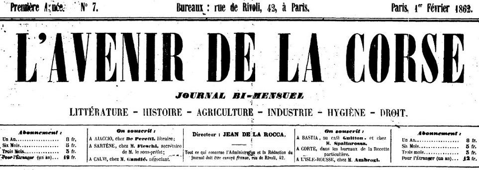 Photo (Archives de la Collectivité de Corse – Pumonti) de : L'Avenir de la Corse. Paris, 1861-1870. ISSN 2121-4573.