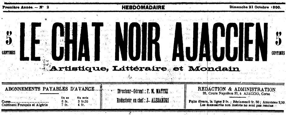 Photo (Archives de la Collectivité de Corse – Pumonti) de : Le Chat noir ajaccien. Ajaccio, 1900-[1901 ?]. ISSN 2123-6828.