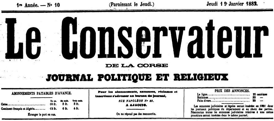 Photo (Archives de la Collectivité de Corse – Pumonti) de : Le Conservateur de la Corse. Ajaccio, 1881-[1900 ?]. ISSN 2124-359X.