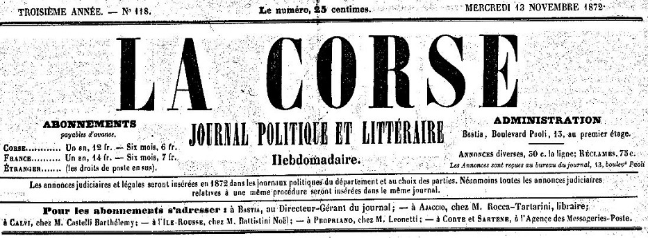 Photo (Archives de la Collectivité de Corse – Pumonti) de : La Corse. Bastia, [1871 ?-1877 ?]. ISSN 2124-4987.