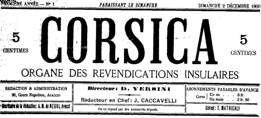 Photo (Archives de la Collectivité de Corse – Pumonti) de : Corsica. Ajaccio, 1900-[1901 ?]. ISSN 2124-5398.