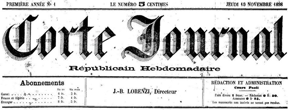 Photo (Archives de la Collectivité de Corse – Pumonti) de : Corte journal. Corte, 1898-[1918 ?]. ISSN 2124-5444.