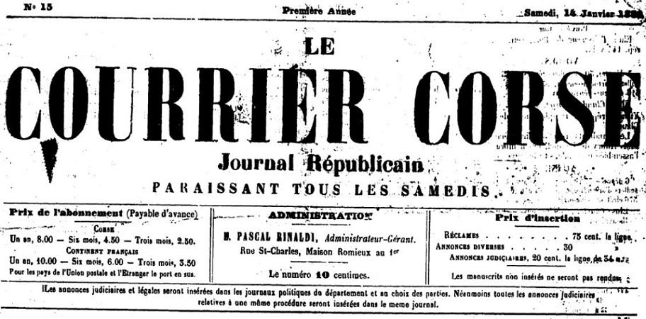 Photo (Archives de la Collectivité de Corse – Pumonti) de : Le Courrier corse. Bastia, 1881-[1885 ?]. ISSN 2124-6483.