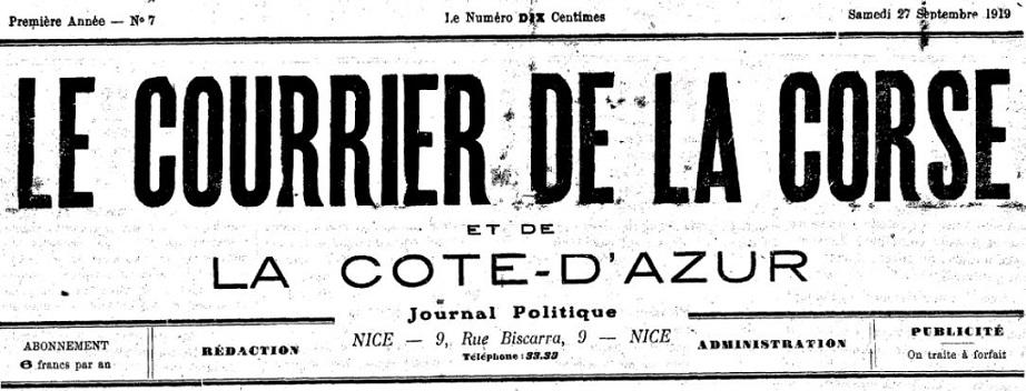 Photo (Archives de la Collectivité de Corse – Pumonti) de : Le Courrier de la Corse et de la Côte d'Azur. Nice, 1919-[1924 ?]. ISSN 2124-7390.
