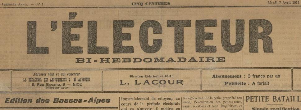 Photo (BnF / Gallica) de : L'Électeur. Éd. des Basses-Alpes. Nice, 1914. ISSN 2127-1402.