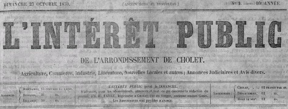 Photo (Cholet (Maine-et-Loire). Archives municipales) de : L'Intérêt public de l'arrondissement de Cholet. Cholet, 1859-1944. ISSN 2129-9587.