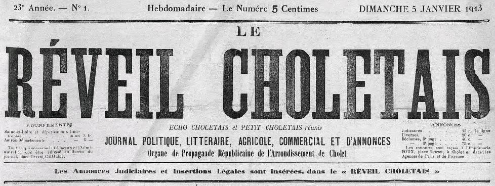 Photo (Cholet (Maine-et-Loire). Archives municipales) de : Le Réveil choletais. Cholet, 1909-1927. ISSN 2136-7019.
